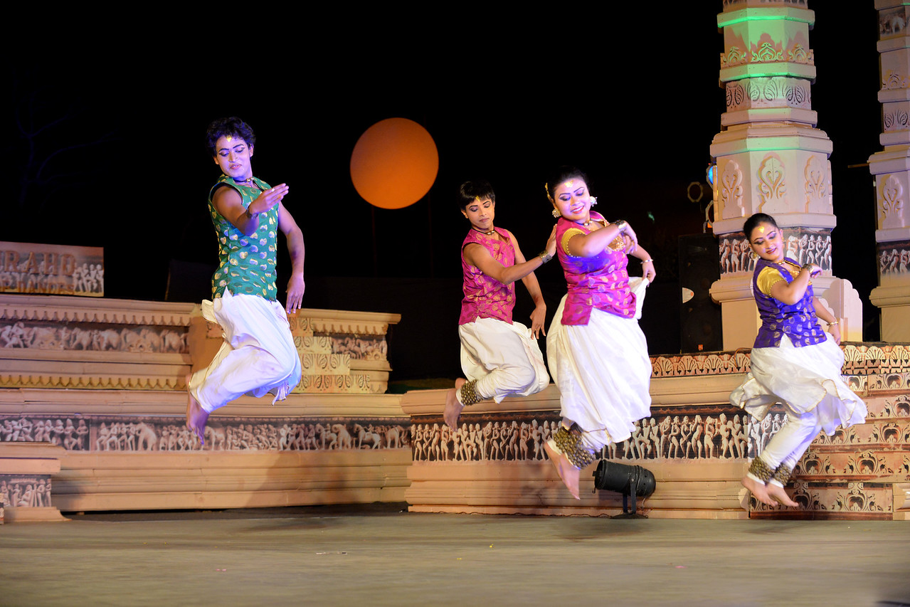 Ashimbandhu Bhattacharya & Troupe's Kathak dance performance at the Khajuraho Festival of Dances.