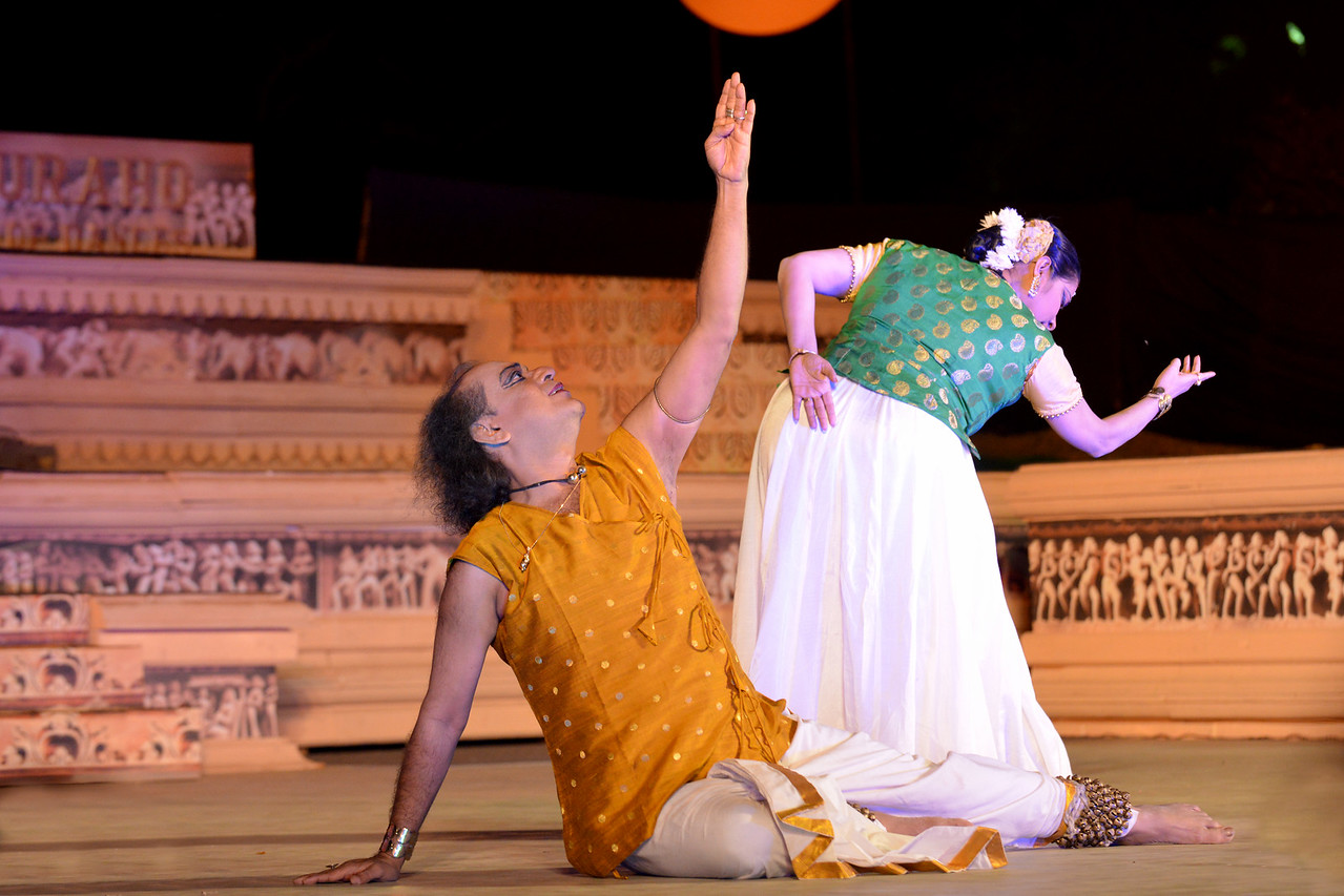 Ashimbandhu Bhattacharya and Luna Poddar. Ashimbandhu Bhattacharya & Troupe's Kathak dance performance at the Khajuraho Festival of Dances.