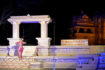 Bharatnatyam dancer Geeta Chandran Founder, President, NATYA VRIKSHA, New Delhi at the Khajuraho Festival of Dances with the beautiful Khajuraho Temples at the back.