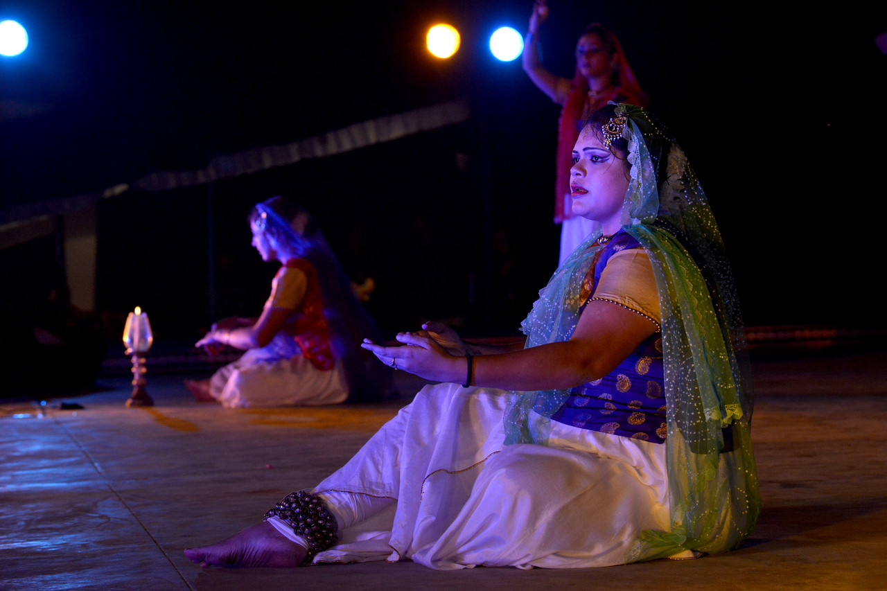 Ranjani Bhattacharjee. Ashimbandhu Bhattacharya & Troupe's Kathak dance performance at the Khajuraho Festival of Dances.