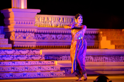 Bharatnatyam dancer Geeta Chandran Founder, President, NATYA VRIKSHA, New Delhi at the Khajuraho Festival of Dances.