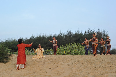 Documentary being filmed on Guru Gangadhar Pradhan and how he started the Konark Natya Mandap.  Guru Gangadhar Pradhan dancing to the Carnatic vocals of Padmabibhushan, Dr. M. Balamuralikrishna at the Konark beach in Orissa.  This was shot during the Konark Dance & Music Festival held from February, 19th to 23rd, 2010 was organized by Konark Natya Mandap.