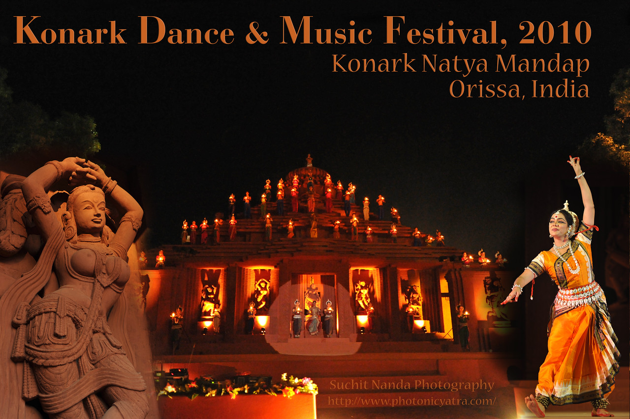 "The Konark Dance & Music Festival held from Feb 19 to 23, 2010 was organized by Konark Natya Mandap.<br /> <br /> The objectives of the Konark Natya Mandap are to preserve, promote, and project the rich cultural heritage of Orissa and to infuse cultural awareness in the minds of all. Started with painstaking efforts of Guru Gangadhar Pradhan, an internationally renowned Odissi dance teacher. 2010 was the silver jubilee year of the festival. For more details see  <a href=""http://www.konarknatyamandap.org/"">http://www.konarknatyamandap.org/</a>"