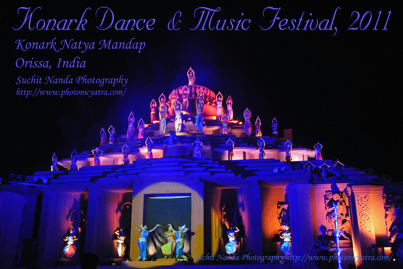 "The Konark Dance & Music Festival 2011 organized by Konark Natya Mandap was held from February, 19th to 23rd, 2011. <br /> The objectives of the Konark Natya Mandap are to preserve, promote, and project the rich cultural heritage of Orissa and to infuse cultural awareness in the minds of all. It was started with painstaking efforts of Guru Gangadhar Pradhan who unfortunately passed away in 2010 He was an internationally renowned Odissi dance teacher. For more details see  <a href=""http://www.konarknatyamandap.org/"">http://www.konarknatyamandap.org/</a> <br /> <br /> The festival takes place in an open-air auditorium and enlivens the spirit of the sculptures of Konark temple which is just a short distance away. The festival brings in the spirit of merry to all the onlookers. The music reverberates and combined with the sounds of the ankle bells of the dancers enthralls the audiences. The elegant steps and expressions of the dancers makes the event so captivating that no one can ever forget it."