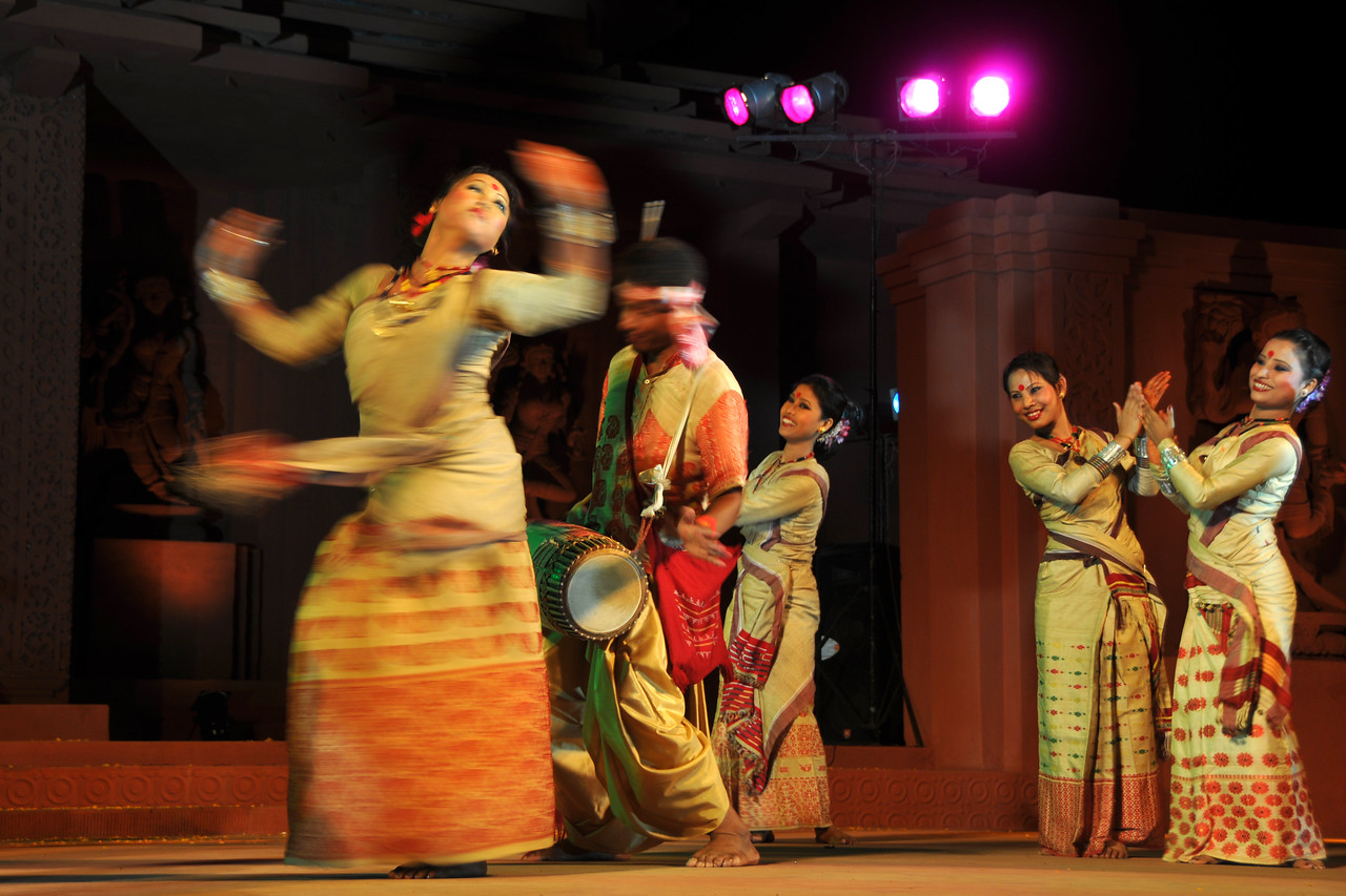 "Bihu Dance by Assam Bihu Dance Group, Assam<br /> <br /> The Konark Dance & Music Festival 2011 held from February, 19th to 23rd, organized by Konark Natya Mandap. The festival takes place in an open-air auditorium and enlivens the spirit of the sculptures of Konark temple which is just a short distance away.<br /> <br /> The objectives of the Konark Natya Mandap are to preserve, promote, and project the rich cultural heritage of Orissa and to infuse cultural awareness in the minds of all. Started with painstaking efforts of internationally renowned Odissi dance teacher Guru Gangadhar Pradhan who unfortunately passed away last year. For more details on the festival see  <a href=""http://www.konarknatyamandap.org/"">http://www.konarknatyamandap.org/</a>"