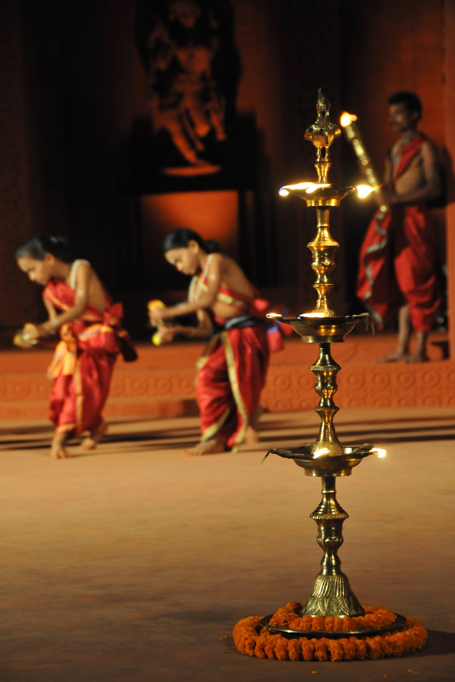 "To the sound of the beating of the drums and the blowing of conch marks the start of the event.<br /> The Konark Dance & Music Festival 2011 held from February, 19th to 23rd, organized by Konark Natya Mandap. The festival takes place in an open-air auditorium and enlivens the spirit of the sculptures of Konark temple which is just a short distance away.<br /> <br /> The objectives of the Konark Natya Mandap are to preserve, promote, and project the rich cultural heritage of Orissa and to infuse cultural awareness in the minds of all. Started with painstaking efforts of internationally renowned Odissi dance teacher Guru Gangadhar Pradhan who unfortunately passed away last year. For more details on the festival see  <a href=""http://www.konarknatyamandap.org/"">http://www.konarknatyamandap.org/</a>"