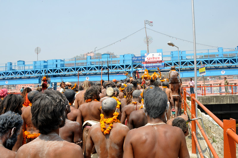 The pace of walking, almost running increases at the procession of Naga sadhus arrives at the Har Ki Pauri ghat in Haridwar. As per tradition, the Naga sadhu's have the first right of bathing in the holy Ganga on the occasion of Kumbh Mela.<br /> <br /> <br /> Kumbh Mela is the biggest religious gatherings on the planet which takes places on the banks of the river Ganga. The number of pilgrims this year is expected to exceed around five million since the first day Jan 14 till the time it concludes on April 28, 2010. The auspicious days of the shahi snan or royal baths usually draw hundreds of thousands of devotees to the Har Ki Paudi and other banks of the river. Uttarakhand. North India. The occasion draws pilgrims from around the world and severly overloads the infrastructure so most of the city is shut down for any vehicles other than security or emergency services so a sea of humanity walks through the city to get to the bathing ghats.