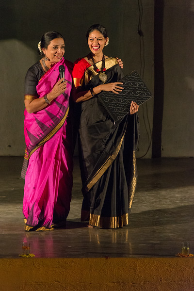 Smt Daksha Mashruwala and Prachi Save Saathi, compère for Mumbai Odissi Utsav. Day 1 - 17th Feb 2018.
