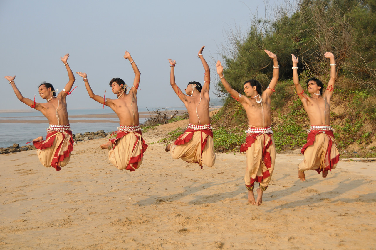"Male Odissi dancers jump in the air during their shoot at the Konark beach close to the famous Konark Sun temple.<br /> <br /> These dancers have been mentored by the renowned Odissi dance teacher Guru Gangadhar Pradhan who unfortunately passed away last year. For more details on the festival and the organizers, take a look at:  <a href=""http://konarkfestival.com/"">http://konarkfestival.com/</a> and  <a href=""http://www.konarknatyamandap.org/"">http://www.konarknatyamandap.org/</a>"