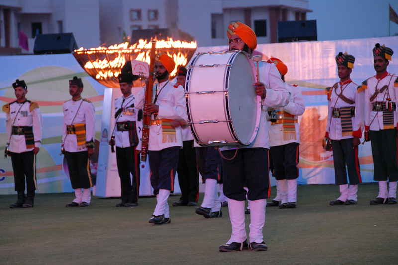 Military Band at the Sports Stadium.<br /> Rajasthan Day Celebrations in Jaipur, March/April 2007, India.<br /> <br /> With the aim of showcasing Rajasthan State's culture & heritage and reviving the traditional sports, cuisines and folk-art, Rajasthan Diwas Celebrations were held from 21st March to 30th March 2007. Craft-Bazaar, Food Festival, Night Bazaar, Sports competitions, spectacular fire-works, Mega Cultural Concerts, and competitions for school students were organized.