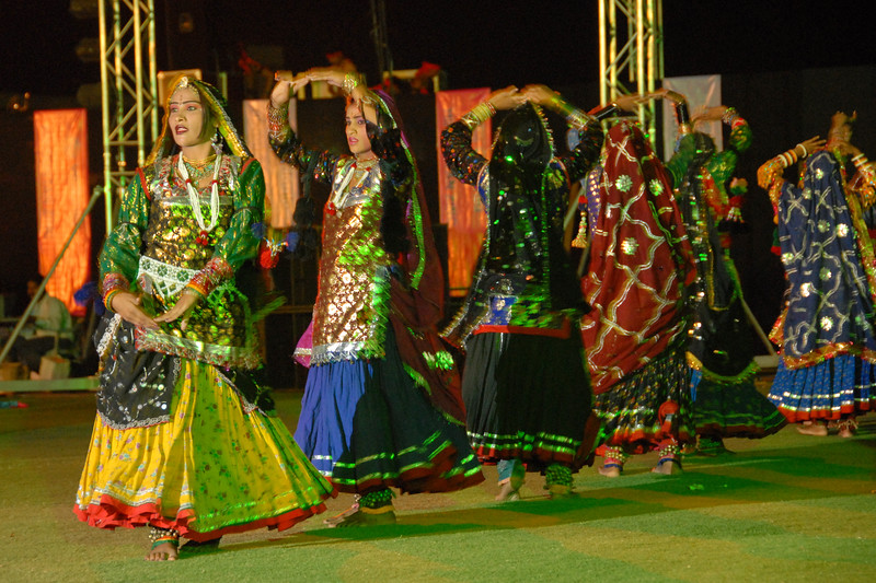 Cultural show and dance at the Sports Complex stadium for the Rajasthan Day Celebrations in Jaipur, March/April 2007, India.<br /> <br /> With the aim of showcasing Rajasthan State's culture & heritage and reviving the traditional sports, cuisines and folk-art, Rajasthan Diwas Celebrations were held from 21st March to 30th March 2007. Craft-Bazaar, Food Festival, Night Bazaar, Sports competitions, spectacular fire-works, Mega Cultural Concerts, and competitions for school students were organized.