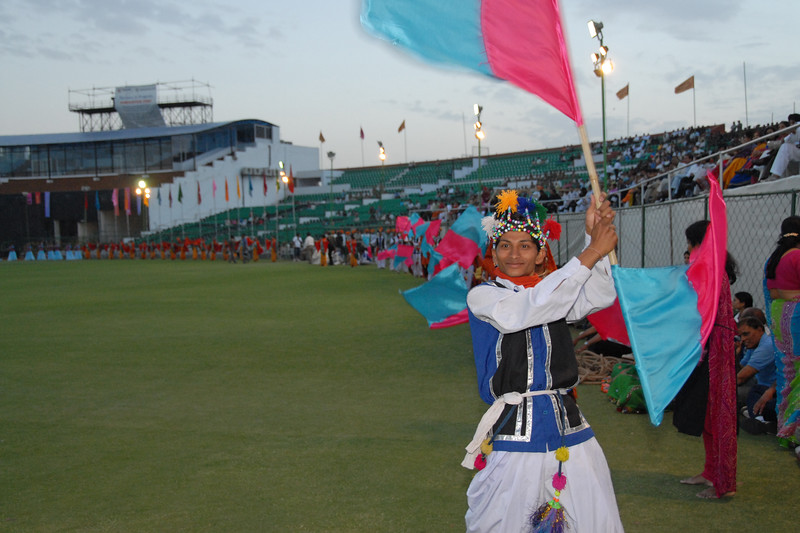 Cultural event at the Sports Stadium.<br /> <br /> Rajasthan Day Celebrations in Jaipur, March/April 2007, India.<br /> <br /> With the aim of showcasing Rajasthan State's culture & heritage and reviving the traditional sports, cuisines and folk-art, Rajasthan Diwas Celebrations were held from 21st March to 30th March 2007. Craft-Bazaar, Food Festival, Night Bazaar, Sports competitions, spectacular fire-works, Mega Cultural Concerts, and competitions for school students were organized.