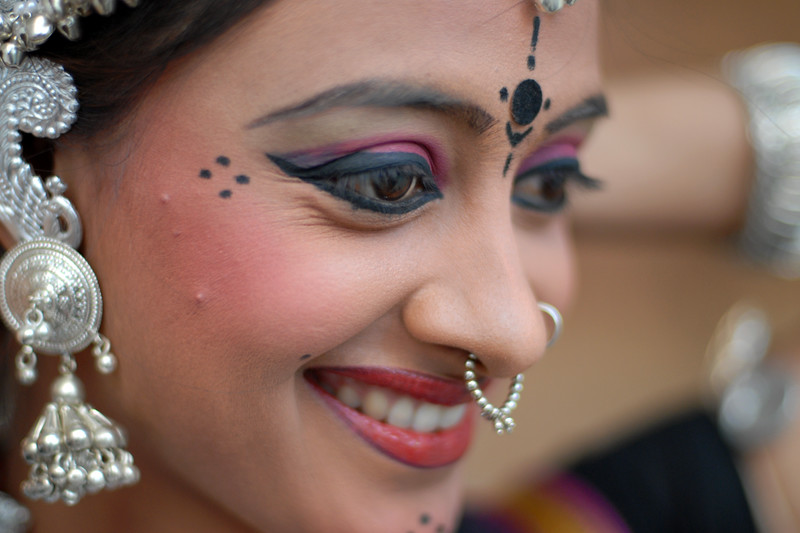 Close (tight) portraits of the lady (girls) who were part of the troupe from Orissa before their performance of song and dance at the Rajasthan Day Celebrations in Jaipur, March/April 2007, India.<br /> <br /> With the aim of showcasing Rajasthan State's culture & heritage and reviving the traditional sports, cuisines and folk-art, Rajasthan Diwas Celebrations were held from 21st March to 30th March 2007. Craft-Bazaar, Food Festival, Night Bazaar, Sports competitions, spectacular fire-works, Mega Cultural Concerts, and competitions for school students were organized.