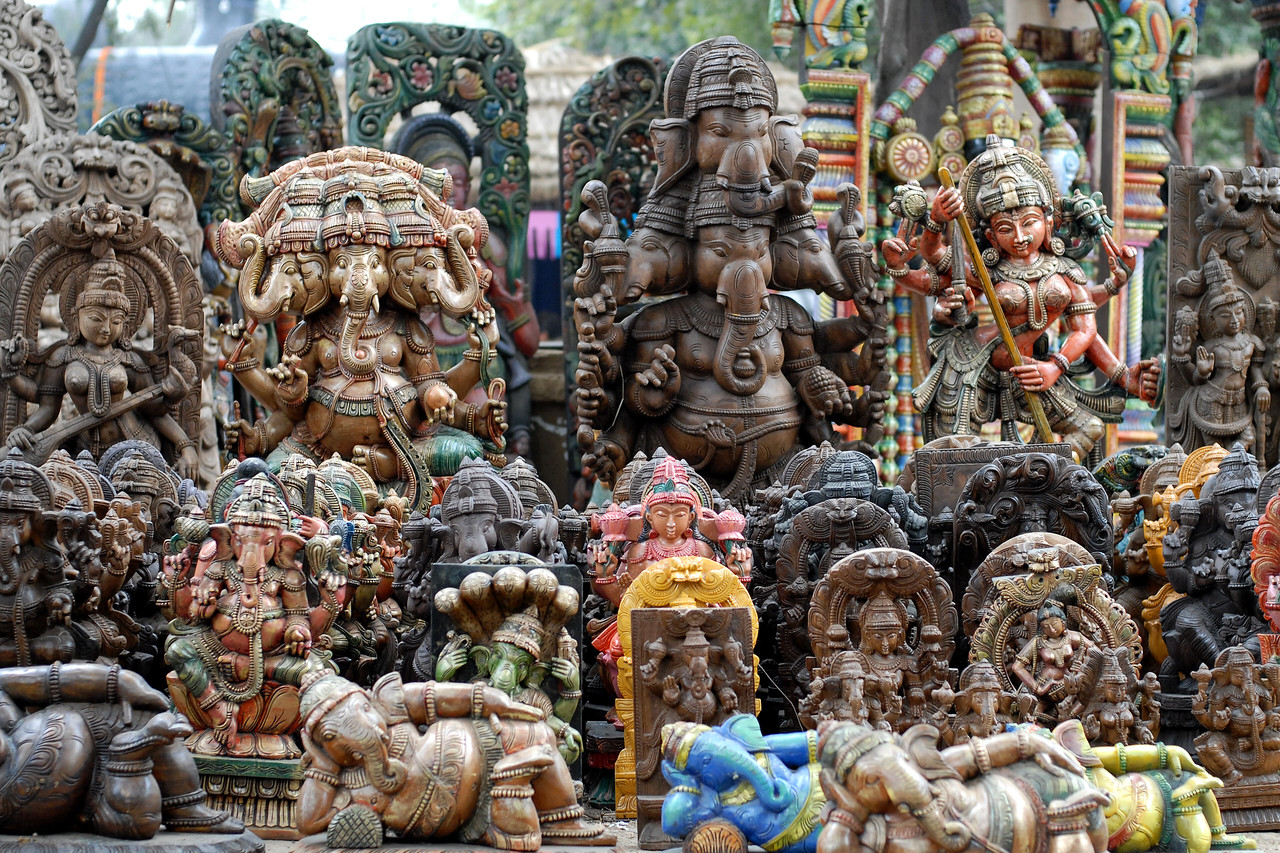 Lord Ganesh & other Hindu Gods. A wide range of items displayed & sold at the Suraj Kund Mela 2008 held in Haryana (outskirts of Delhi), North India. The Suraj Kund Mela is an annual fair held near Delhi. Folk dances, handicrafts and a lot of fun.
