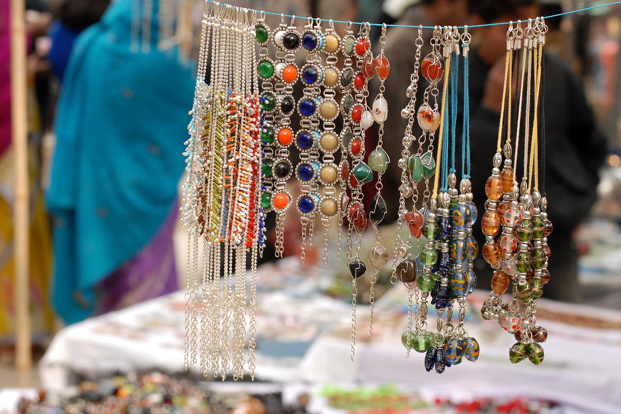 A wide range of items displayed & sold at the Suraj Kund Mela 2008 held in Haryana (outskirts of Delhi), North India. The Suraj Kund Mela is an annual fair held near Delhi. Folk dances, handicrafts and a lot of fun.