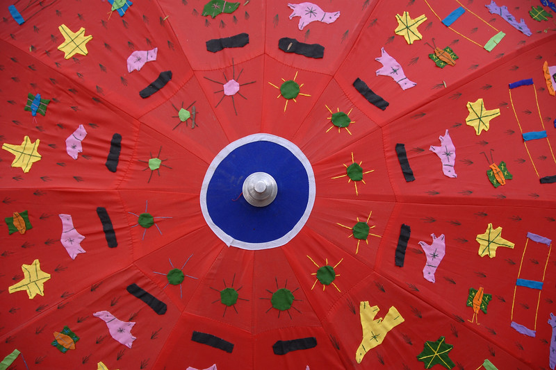Hand made umbrella at Suraj Kund Mela 2008 held in Haryana (outskirts of Delhi), North India. The Suraj Kund Mela is an annual fair held near Delhi. Folk dances, handicrafts and a lot of fun.