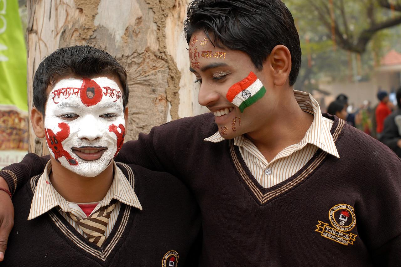 Winning face painting students of Tarun Niketan Public School, Faridabad at the Suraj Kund Mela 2008 held in Haryana (outskirts of Delhi), North India. The Suraj Kund Mela is an annual fair held near Delhi. Folk dances, handicrafts and a lot of fun.