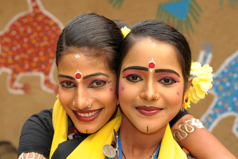 Bijaylaxmi Mohapatra (Angelrina Mohapatra) and Prativa Mohanty. Dancers from Dayal Sangeet Academy, Rasulgarh, Bhubaneshwar, Orissa. This girls only group of artist performed the Odissi Classical dance and Sambalpuri Folk dance at the Surajkund Crafts Mela 2009, Haryana, North India.