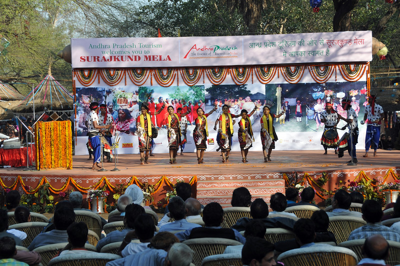 Dayal Sangeet Academy from Rasulgargh, Bhubaneshwar, Orissa perform at the Chaupal at Suraj Kund Mela.<br /> Surajkund Crafts Mela 2011 held near Delhi in Faridabad, Haryana, North India. The annual Suraj Kund Mela (fair) is an event held in February each year where artisans, craftsmen, musicians & dancers come together and entral thousands of visitors. It is also a great shopping bonanza and delight to the palate with the range of food.