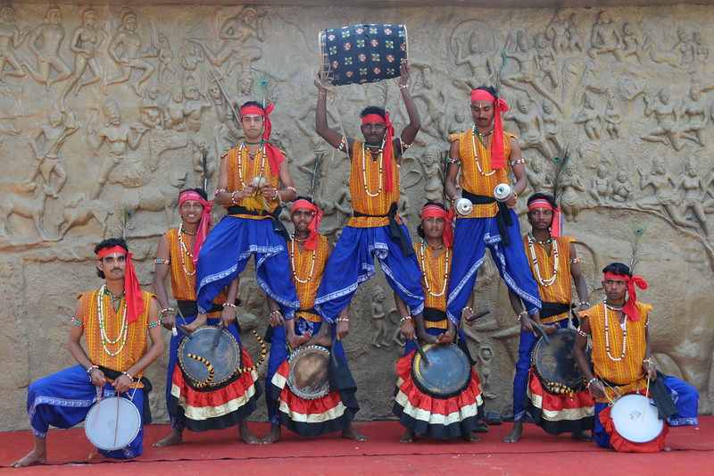 Male dancers  of Dayal Sangeet Academy, Rasulgargh, Bhubaneshwar, Orissa.<br /> <br /> Surajkund Crafts Mela 2011 held near Delhi in Faridabad, Haryana, North India. The annual Suraj Kund Mela (fair) is an event held in February each year where artisans, craftsmen, musicians & dancers come together and entral thousands of visitors. It is also a great shopping bonanza and delight to the palate with the range of food.