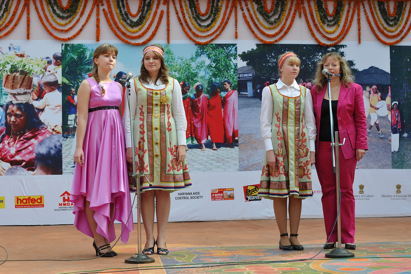 Young Russian girls perform on stage at Suraj Kund Mela.<br />  Surajkund Crafts Mela 2011 held near Delhi in Faridabad, Haryana, North India. The annual Suraj Kund Mela (fair) is an event held in February each year where artisans, craftsmen, musicians & dancers come together and entral thousands of visitors. It is also a great shopping bonanza and delight to the palate with the range of food.