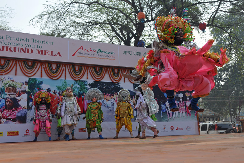 Chhau dance being performed by the Jharkhand artists at the Mela.<br /> <br /> Surajkund Crafts Mela 2011 held near Delhi in Faridabad, Haryana, North India. The annual Suraj Kund Mela (fair) is an event held in February each year where artisans, craftsmen, musicians & dancers come together and entral thousands of visitors. It is also a great shopping bonanza and delight to the palate with the range of food.