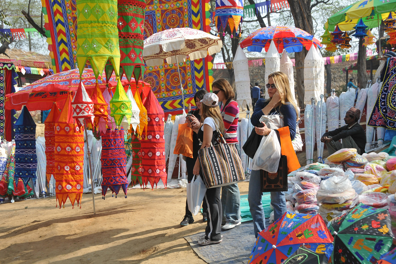Range of shopping options.<br /> <br /> Surajkund Crafts Mela 2011 held near Delhi in Faridabad, Haryana, North India. The annual Suraj Kund Mela (fair) is an event held in February each year where artisans, craftsmen, musicians & dancers come together and entral thousands of visitors. It is also a great shopping bonanza and delight to the palate with the range of food.