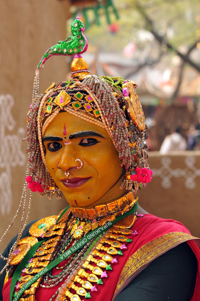 Artists from the theme state of Andra Pradesh.<br /> <br /> Surajkund Crafts Mela 2011 held near Delhi in Faridabad, Haryana, North India. The annual Suraj Kund Mela (fair) is an event held in February each year where artisans, craftsmen, musicians & dancers come together and entral thousands of visitors. It is also a great shopping bonanza and delight to the palate with the range of food.