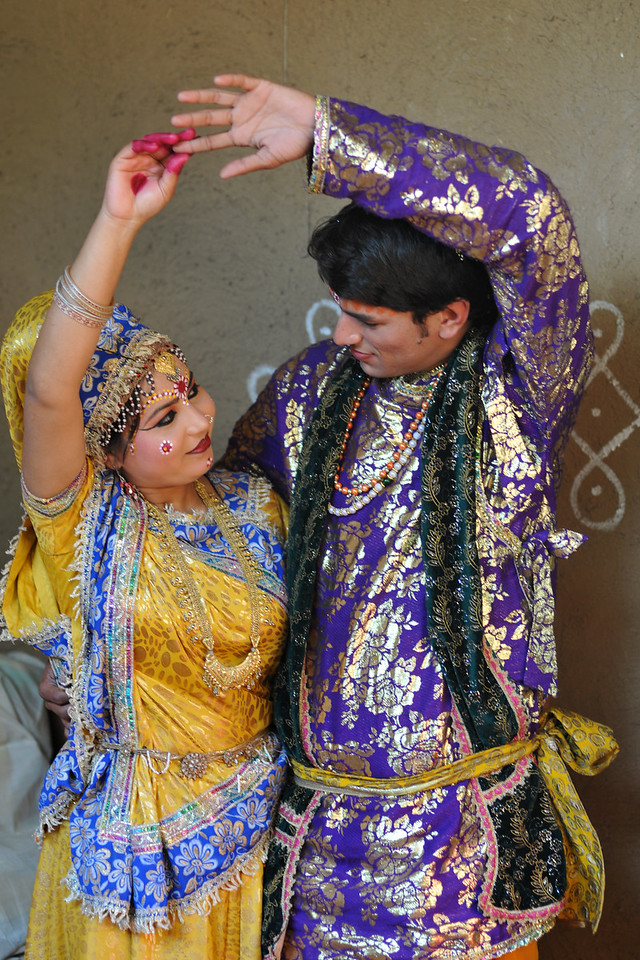 Artists who perform Krishna Leela (Lord Krishna and Radha's dance) back stage at Suraj Kund Mela.<br /> <br /> Surajkund Crafts Mela 2011 held near Delhi in Faridabad, Haryana, North India. The annual Suraj Kund Mela (fair) is an event held in February each year where artisans, craftsmen, musicians & dancers come together and entral thousands of visitors. It is also a great shopping bonanza and delight to the palate with the range of food.