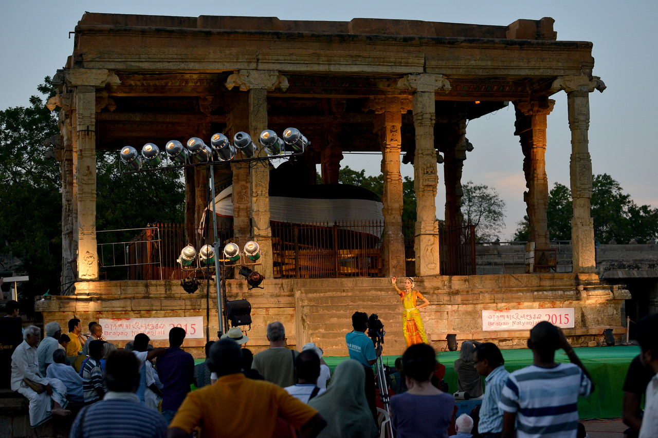 "Audience watch Valérie Kanti Fernando, student of Sri Rajarajeswari Bharatha Natya Kala Mandir and disciple of Guru Harikrishna Kalyanasundaram's performance at the Brahan Natyanjali 2015, Big Temple, Thanjavur, Tamil Nadu, 19th February, 2015. <a href=""http://brahannatyanjali.in/"">http://brahannatyanjali.in/</a>"