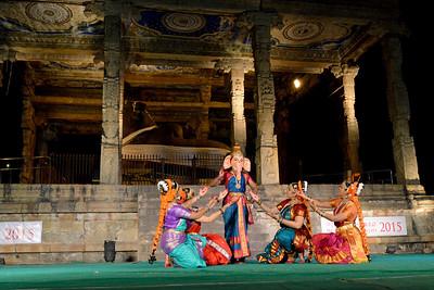 Dance performance in front of Nandi of Lord Shiva.  Performance by Sri Sai Nataraja Academy of Kuchipudi Dance, Hyderabad. Guru Ms Lavanya Basava. Brahan Natyanjali 2015, Big Temple, Thanjavur, Tamil Nadu, 19th February, 2015, http://brahannatyanjali.in/