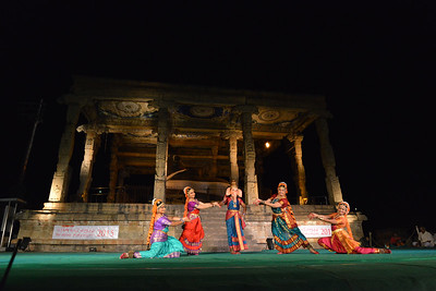 Dance performance in front of Nandi bull of Lord Shiva. Sri Sai Nataraja Academy of Kuchipudi Dance, Hyderabad. Guru Ms Lavanya Basava. Brahan Natyanjali 2015, Big Temple, Thanjavur, Tamil Nadu, 19th February, 2015, http://brahannatyanjali.in/