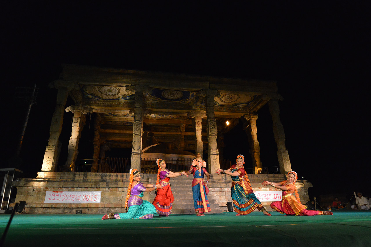 "Dance performance in front of Nandi bull of Lord Shiva. Sri Sai Nataraja Academy of Kuchipudi Dance, Hyderabad. Guru Ms Lavanya Basava. Brahan Natyanjali 2015, Big Temple, Thanjavur, Tamil Nadu, 19th February, 2015, <a href=""http://brahannatyanjali.in/"">http://brahannatyanjali.in/</a>"