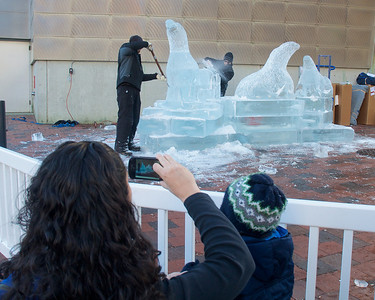 122912, Boston, MA - Spectators watch as Don Chapelle and Lars-Erik Miller work on an ice sculpture outside the New England Aquarium. This year, the annual New Year's ice sculpture is of the aquarium's new fur seal pup Flaherty, his mother Ursula and his father Isaac. Herald photo by Ryan Hutton