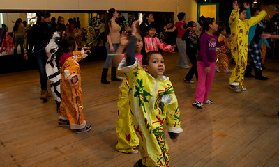122712, Jamaica Plain, MA - Children practice dancing at Spontaneous Celebrations as practice for the First Night celebration in Boston. Herald photo by Ryan Hutton