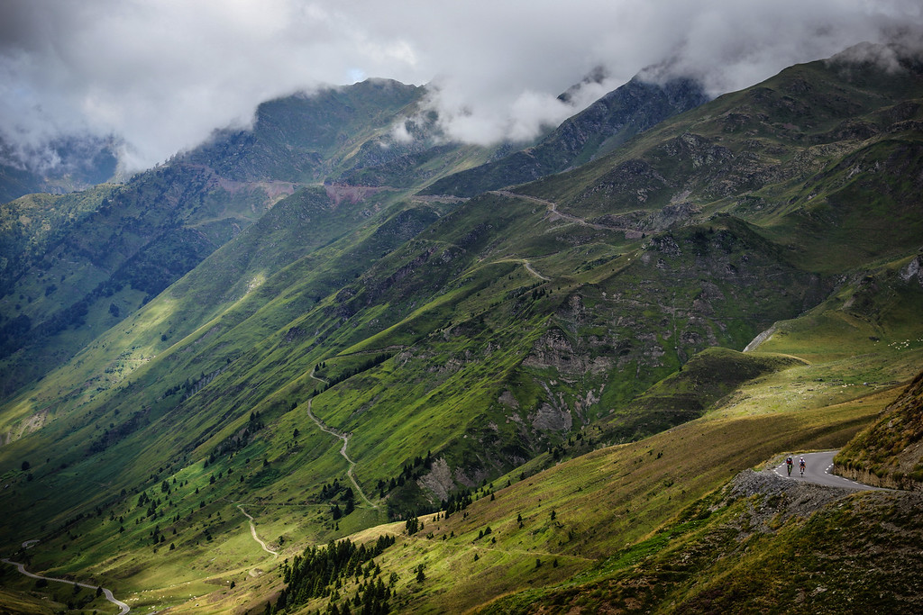 Participants make their way up the Col du Tourmalet in the Pyrenees during Day 3 of the Trois Etapes Tour 2015 in Hautes-Pyrénées, France on the 9th August 2015.