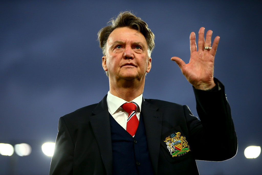Louis van Gaal Manager of Manchester United waves to supporters prior to the Barclays Premier League match between A.F.C. Bournemouth and Manchester United at Vitality Stadium on December 12, 2015 in Bournemouth, United Kingdom.