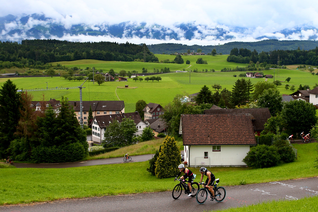 Athletes compete in the bike leg during the Rapperswill-Jona Ironman on June 5, 2016 in Rapperswil, Switzerland.