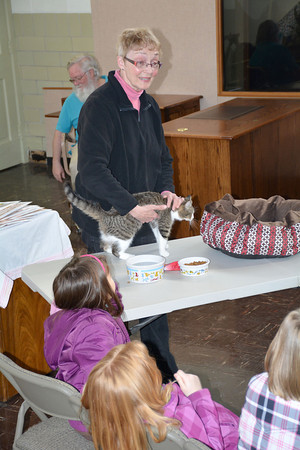 Effingham County Humane Society volunteer Sally Sherrick tells members of Girl Scout Daisy Troop 4570 about the joy of owning cats recently. Partially shown behind Sherrick is Alan Lawyer, who told the girls about dogs.