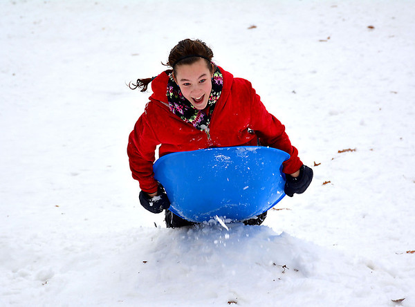 CeCe Miller, of Cowden, had some fun Friday despite the rainy weather, sledding down one of the hills at Community Park in Effingham.