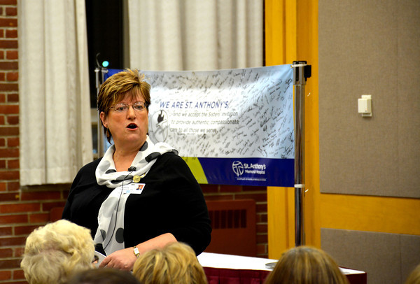 Theresa Rutherford, CEO of St. Anthony's Memorial Hospital, spoke to a crowd of over 120 at a townhall meeting. Rutherford said local residents need to go to St. Anthony's for treatment and outpatient procedures to ease the financial burden which is falling to staff.