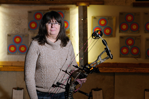 Linda Scales stands in the shooting area of her business.