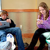 Cameron Hanson, 14, and his sister Kelseigh, 15, did their best to entertain themselves after getting stranded in Effingham while on vacation. The Effingham Performance Center took in travelers Monday and were available for more Tuesday night after the Jan. 5 snow storm.