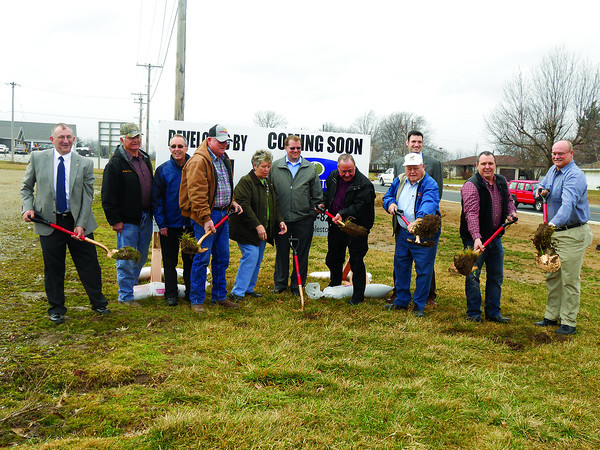 Investors break ground at the future location of Cobblestone Hotels in Newton. Construction on the hotel is expected to be complete by summer.