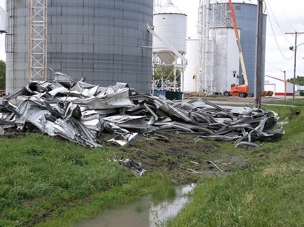 A grain silo in Montrose was destroyed by high winds.