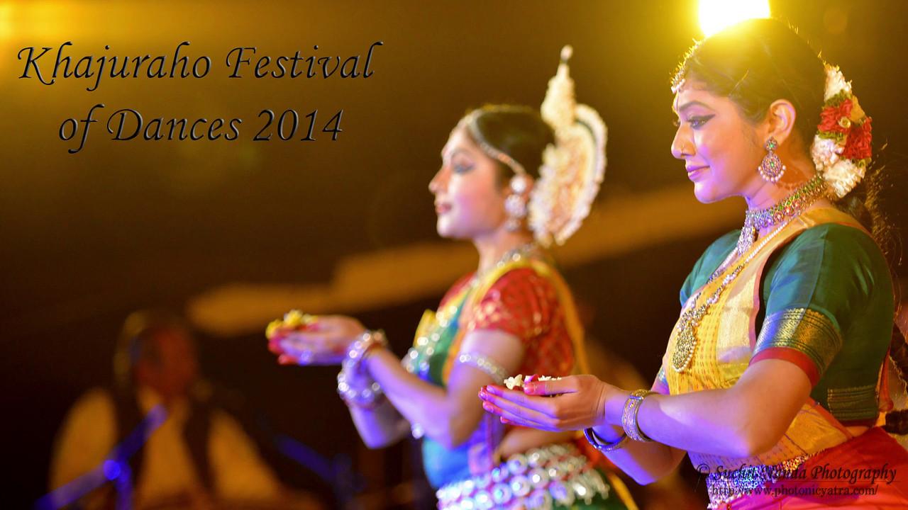 Short video of Carolina Prada, Nibedita Mohapatra, and Abhinaya Nagajothy's performance of Chhau, Odissi, and Kuchipudi dance at the Khajuraho Festival of Dances February, 2014. Khajuraho Festival of Dances celebrates the most colorful and brilliant classical dance forms of India.