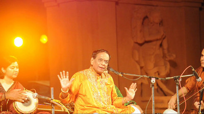 Short audio-video clip of Padmabibhushan Dr. M. Balamuralikrishna with violinist Shri Vittal Ramamurthy giving a Carnatic vocal performance.  The Konark Dance & Music Festival held from February, 19th to 23rd, 2010 was organized by Konark Natya Mandap.