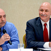 Effingham County sheriff's candidates Darren Feldkamp, left, and John Gardner participate in a forum sponsored by Effingham CountyChamber of Commerce.