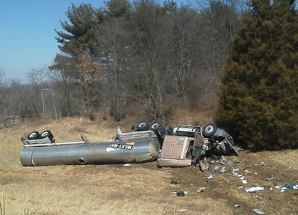 A tanker carrying liquid eggs after a March 6 accident.