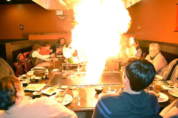 Hibachi chef Dody Suradoarma sets off a fireball for diners at the Fujiyama Japanese Cuisine.